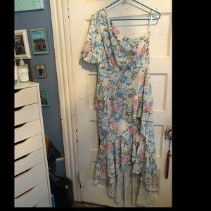 One shoulder floral Shein dress